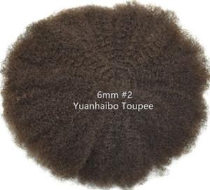 Bisoñes 4 mm 6 mm 8 mm 10 mm Reemplazo de la India Remy de la Virgen del pelo humano del rizo rizado afro para hombre de envío libre de la peluca afro completa del pelo del cordón