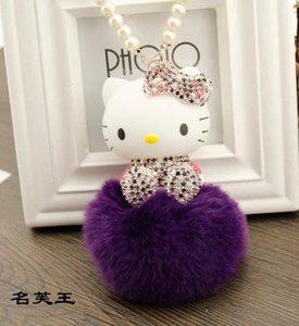 Titular gato cor de rosa dos desenhos animados Pearl Real Fur Pompom Bola Keychain Chaveiro Malas de mulher pingente de charme Acessórios presente para a menina