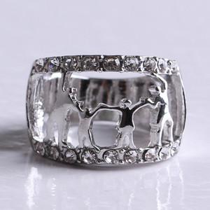 Happy Family Womens Ring - Madre Abuela Amor Metal Cristal Anillos de diamantes de imitación Madre Joyería hueca - Regalo de año nuevo de Navidad
