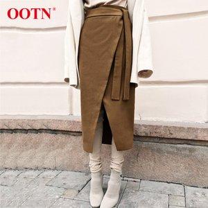 OOTN Винтаж коричневый асимметрия обернуть юбка Осень Зима замша миди юбки Высокая талия женщины длинная юбка офис хаки 2019 мода