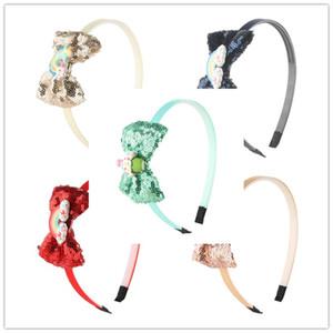 15pcs / lot nouvelle arrivée arcs de cheveux pour les filles Glitter Hairbow bandeaux princesse Sequin Bow enfants tête Hoop arc-en-résine résine Kid Headwear