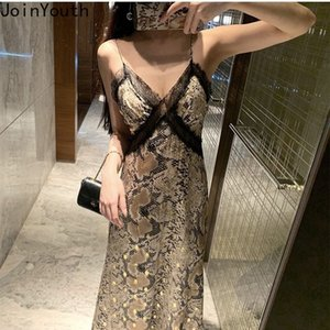 Joinyouth Women Sexy Dress V-neck Lace Patchwork Print Robe Backless Party Dresses Summer Slim Fit Sling Vestidos Korean Clothes