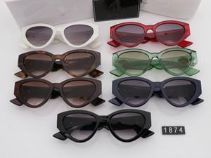 Lüks Tasarımcı Marka Medusa Güneş Gözlüğü Durumda 1874 Ile Kedi göz Çerçevesiz Bayan Moda Gözlük anti-UV400 Basit atmosfer Tarzı Gözlük