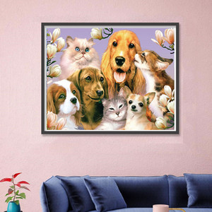 DIY 5D Diamond Painting by Number Kits, Full Drill Crystal Rhinestone Embroidery Happy dog family portrait Arts Craft for Home Wall Decor