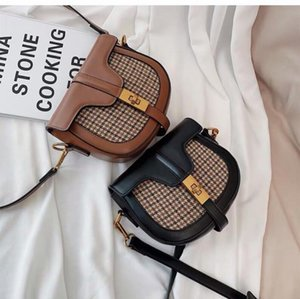 Saddle bag check retro fashion new womens bag solid color crossbody bag simple one-shoulder fashion trend suite 2019