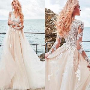 2020 Vintage Lace Langarm Brautkleider Tüll V-Ausschnitt Applique Tasten zurück Plissee Brautkleider BM1521