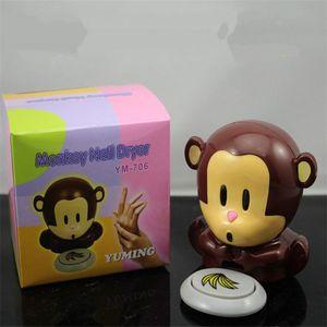 Sevimli Mini Karikatür Maymun Tırnak Kurutucu El Parmak Toe Nail Art Jel İpucu Lehçe Kurutma Blower Fan Hava Kurutucu Tırnak Sanat Araçları