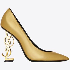 Oro 10 centimetri scarpe tacco alto in pelle verniciata Lettera tacco scarpe da sposa moda sposa Modest partito delle donne Eden moda Scarpe abito da sera del partito