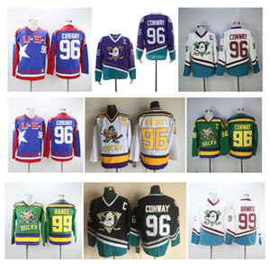 NHL Mighty Ducks Jersey 96 Charlie Conway 99 Adam Banche Team USA Verde Bianco Blu Viola 1993-94 I Mighty Ducks di Anaheim film Jersey