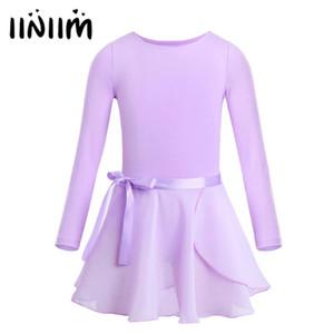 Sahne Performansı Tutu Elbise için Etek Bağlı şifon iiniim Genç Kızlar Bale Dans Balerin Jimnastik Leotard bodysuit