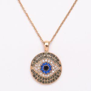 S1505 Turkish Symbol Evil Eye Necklace Blue Eye Crystal Rhinstone Pendant Necklace Sweater Necklaces