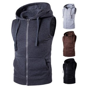 Nova marca sólida Vest Men Moda mangas Hoodies Cardigans Jacket Autumn Causal Zipper Pockets Vest Colete Clothes