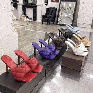 2020 pantoufles femmes Designer mules carrées sandales orteil sandales TENDU peau de chèvre sandales à talons hauts talons de luxe dame de mariage multiple élevé 42