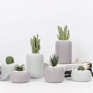 Cylindrical Ceramic Planters Set - 3pcs Matt Porcelain Flowerpot Mini Geometric Succulent Plant Pots Flower Pot Bonsai Planters
