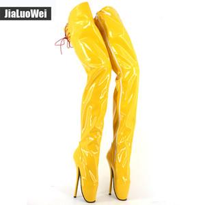 """Jialuowei Ballet 7"""" stivali del tacco alto in pelle con cerniera PU punta di piedi over-the-ginocchio Thign / biforcazione stivali alti di balletto per le donne gli uomini"""