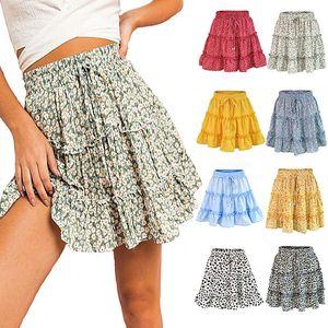 Floral Dot Imprimir Vestido Ruched Cintura Alta Ruffle Midi Saia de Verão Mulheres Roupas Mini Vestidos Do Navio Da Gota 220155