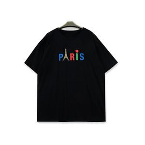 Erkek Stilist T Shirt Erkekler Kadınlar Paris Kısa Kollu Moda Erkek T Shirt Siyah Beyaz Baskı
