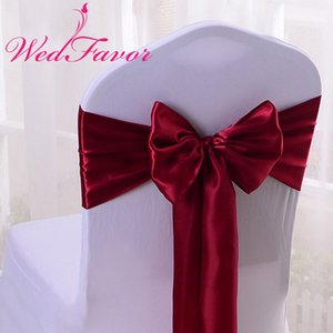 WedFavor 100pcs Burgonya Sandalye Kapak Saten Kurdele Kravatlar Ziyafet Saten Sandalye Bow Kanat İçin Düğün Olay Otel Parti Dekorasyon