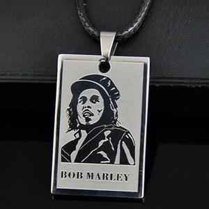 Lot 10 adet serin erkek erkek reggae şarkıcı bob marley kolye paslanmaz çelik köpek etiketi zincir kolye hediye st02