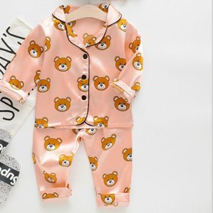 Pijamas Set Silk Pijamas Suit Sets Meninos Pijamas pijama Urso Crianças Primavera manga comprida infantil para crianças Treino Set