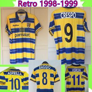 # 9 CRESPO 98 99 RETRO Parma بلوزات كرة القدم 1998 1999 مجموعة كلاسيكية كلاسيكية صفراء لكرة القدم قمصان # 1 BUFFON # 10 ASPRILLA # 8 BAGGIO