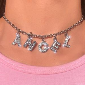 Angelo grande lettera di Bling Bling '90 estetica Tumblr catena collana delle donne Choker Unif Cagna papà Night Club accessorio freddo unisex