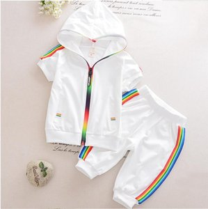 Fashion Kids Boy Girl Clothes Sportswear Summer Baby Colorful Hoodies Shorts 2Pcs sets Children Outfit Toddler Cotton Tracksutis T200707