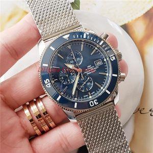 Горячий продавать высокого качества для мужчин Наручные часы большой размер 46mm кожа Bands A1331212 VK Кварцевый хронограф Рабочая Mens ремешок Часы