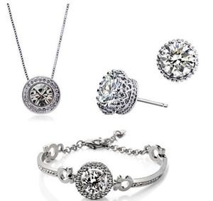 Pulsera Pendientes Conjunto de joyas hechas con SWAROVSKI ELEMTNS Nueva moda Collar de cristal austriaco chapado en oro de 18 quilates Joyas de boda JM002