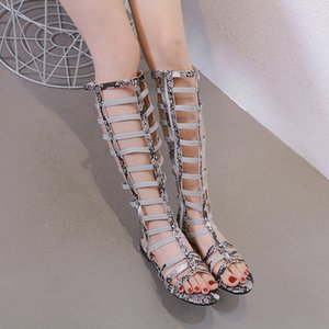 Alluring2019 Rome Year Sandals Level With Shoe Snake Pattern Zapatos de mujer Cool Boots 168-2