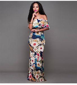 Reizvollen Frauen beiläufige Maxikleider Fashion Strapless Floral Womens Designer Abendkleider Lässige Kleidung Weibliche Drucken