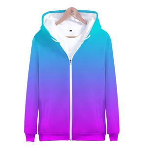 Regenbogen-Zipper Hoodies Männer Pullover Benutzerdefinierte bunten Gradient Hoodie Mens Solid Color mit Kapuze Männer / Frauen 3D-lila Design Mantel