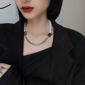 Misbhv Pearl Letter Choker Necklace For Women Harajuku streetwear Chain Necklace Metal Collar