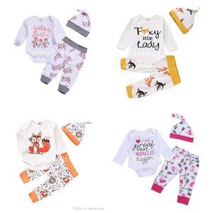 Детская одежда Весна Осень Женский Детские Печатные Брюки Одежда Одежда наборы 1set = ползунки + брюки + шапка