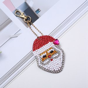 5pcs set DIY 5D Diamond Painting Embroidery Cartoon Double Sided Keychain Key Ring Jewelry Handmade Christmas Gifts Hooks Rails