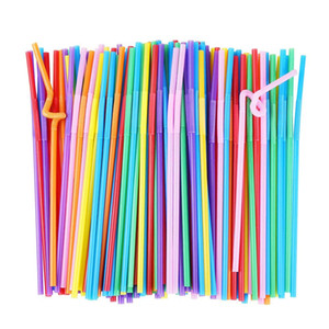100pcs set Flexible Plastic Drinking Straws, Extra Long Disposable Bendy Party Fancy Straws, Pack of 100
