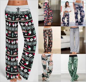 Navidad pierna ancha pantalones sueltos floral Flores pantalones de cordón cintura alta pantalones de camuflaje de impresión pantalones cómodo estiramiento de la manera B7013 Pant