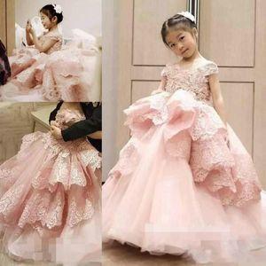 Schöne 2019 Rosa Spitze Blumenmädchenkleider Tiers Tüll Mädchen Pageant Kleider Erstkommunion Kleid Ballkleid Kinder Formelle Kleidung
