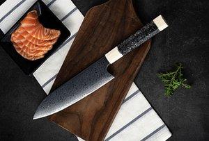High End reparierte Blatt Damaskus Küchenmesser VG10 Damaszenerklinge Resin Handle im Freien kampierende wandernde Gerade Messer