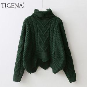 TIGENA caliente grueso cuello alto jersey corto del suéter de las mujeres Jumper Tire 2019 Winter alas de murciélago suéter manga femenina Femme verde Pink1