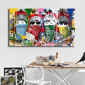 Mr Brainwash Band Singer Oil Painting Graffit Canvas Poster Prints Wall Art Painting Immagine decorativa Modern Bedroom Home Decoration