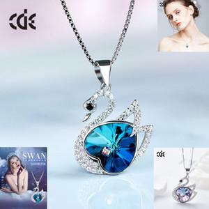 Simple S925 Sterling Silver Swan Collier avec Cristal Swarovski Elements en forme de coeur chaîne Clavicule