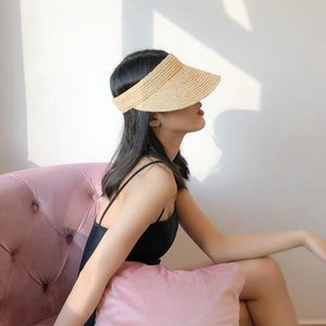 New Foldable Vacation Visor Caps For Women Raffia Empty Top Sun Hat Summer UV Beach Hats Velcro Adjustable Head Circumference Y200602