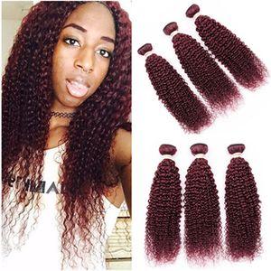 """곱슬 곱슬 곱슬 # 99J 부르고뉴 레드 브라질 인간의 머리카락 번들 3pcs 많은 와인 레드 버진 레미 인간의 머리카락 직물 확장 브라질 머리 10-30 """""""