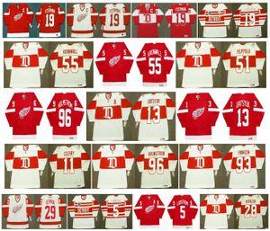 Vintage Detroit Red Asas Jerseys 13 Pavel Datsyuk 19 Steve Yzerman 11 DANIEL CLEARY 93 Johan Franzen 96 HOLMSTROM 29 MIKE VERNON CCM Hockey