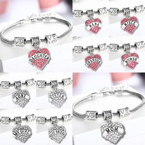 45 Arten Diamant-Liebes-Herz-Armband Mom Tante Tochter Großmutter glauben Hoffnung beste Freunde Kristall-Armband-Partei-Bevorzugung RRA2508