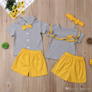 Mode Große / Kleine Schwester Bruder Passende Sommer Kleidung Kinder Baby Mädchen Jungen Sets Kurzarm Rüschen Tops Shorts Outfits 1-6Y