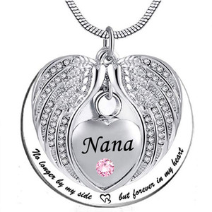 재사용, 심장 화장 기념 기념 목걸이 펜던트 목걸이 쥬얼리 필 키트와 선물을위한 Nana Angel Wing Urn 목걸이