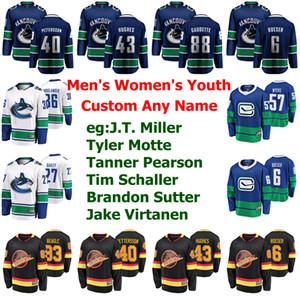 Vancouver Canucks jerseys para mujer de Jake Virtanen Jersey Tyler Myers Jordie Benn Fantenberg Alexander Edler de hockey sobre hielo de los jerseys cosido personalizada