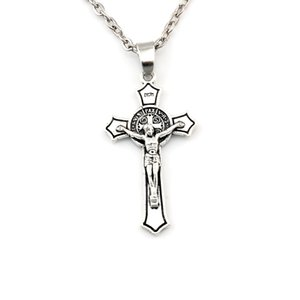 50pcs / lotti Antico argento Benedetto Medaglia Gesù Cristo Cross in lega di ciondolo ciondolo collane gioielli fai da te 23,6 pollici Catene A-581D